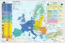 Az Európai Unió (a tagok és tagjelöltek zászlóival) + gazdasági térképek DUO-160*120 cm-laminált,faléces