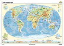 A Föld domborzata iskolai falitérkép - egyoldalas - választható méret, nyelv - fóliás, alul-felül faléces