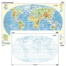 A Föld domborzata / vaktérkép iskolai falitérkép - kétoldalas - választható méret, nyelv - fóliás, alul-felül faléces