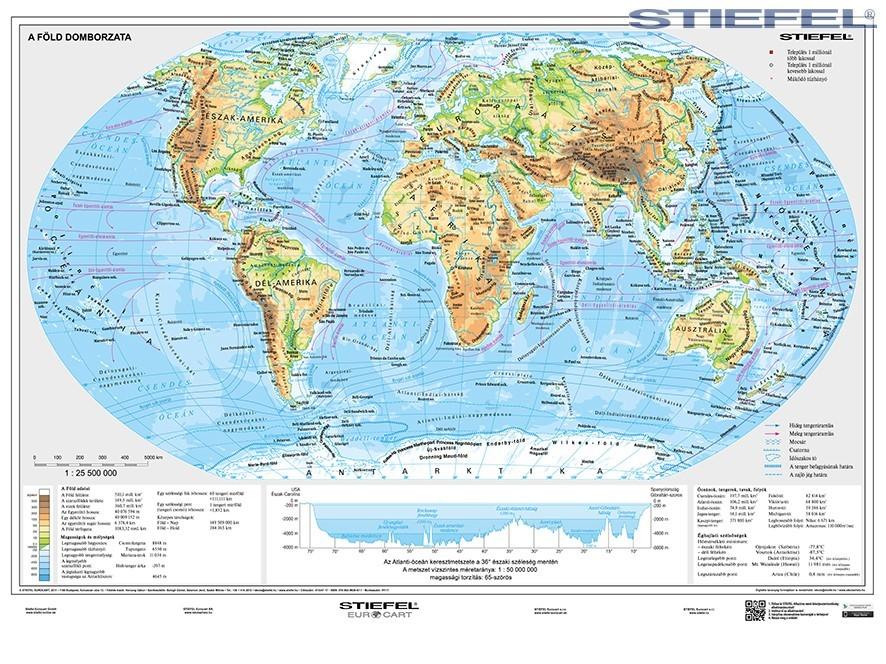 világ domborzati térkép A Föld domborzati és politikai térképe DUO 160*120 cm laminált  világ domborzati térkép