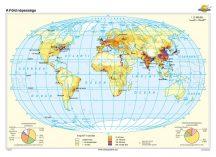 A Föld népessége iskolai falitérkép - egyoldalas - választható méret, nyelv - fóliás, alul-felül faléces