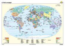 A Föld országai iskolai falitérkép - egyoldalas - választható méret, nyelv - fóliás, alul-felül faléces