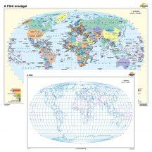 A Föld országai / vaktérkép iskolai falitérkép - kétoldalas - választható méret, nyelv - fóliás, alul-felül faléces