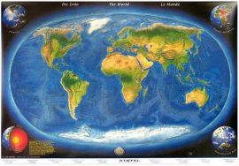 A Föld panorámatérképe a tengerfenék domborzatával-160*120 cm-laminált,faléces