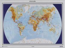 A Föld felszíne és országai domború térkép - magyar nyelvű (keretezett)