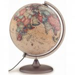 Földgömb - világító, antik 30 cm átmérőjű, műanyagtalpas