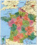 Franciaország megyéi és postai irányítószámai falitérképe 100*140 cm - lécezett
