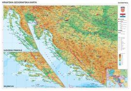 Horvátország domborzata + vaktérkép DUO (horvát nyelvű)  falitérkép 100*70 cm - léces