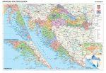 Horvátország politikai + vaktérkép DUO (horvát nyelvű)  falitérkép 115*85 cm - léces