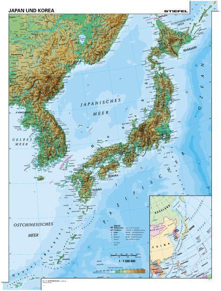 japán térkép Japán és Korea, domborzati (angol v. német)  115*160 cm laminált