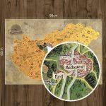Kaparós Magyarország térkép DELUXE XL - térképtűvel szúrható, keretezett