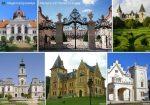 Magyarország kastélyai tányéralátét könyöklő + hátoldalon Magyarország borászati térképe