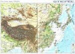 Kína, Korea, Japán, Mongólia domborzata -160*120 cm-laminált,faléces