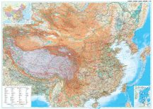 Kína domborzata és úthálózata falitérkép 122*86 cm - íves papír