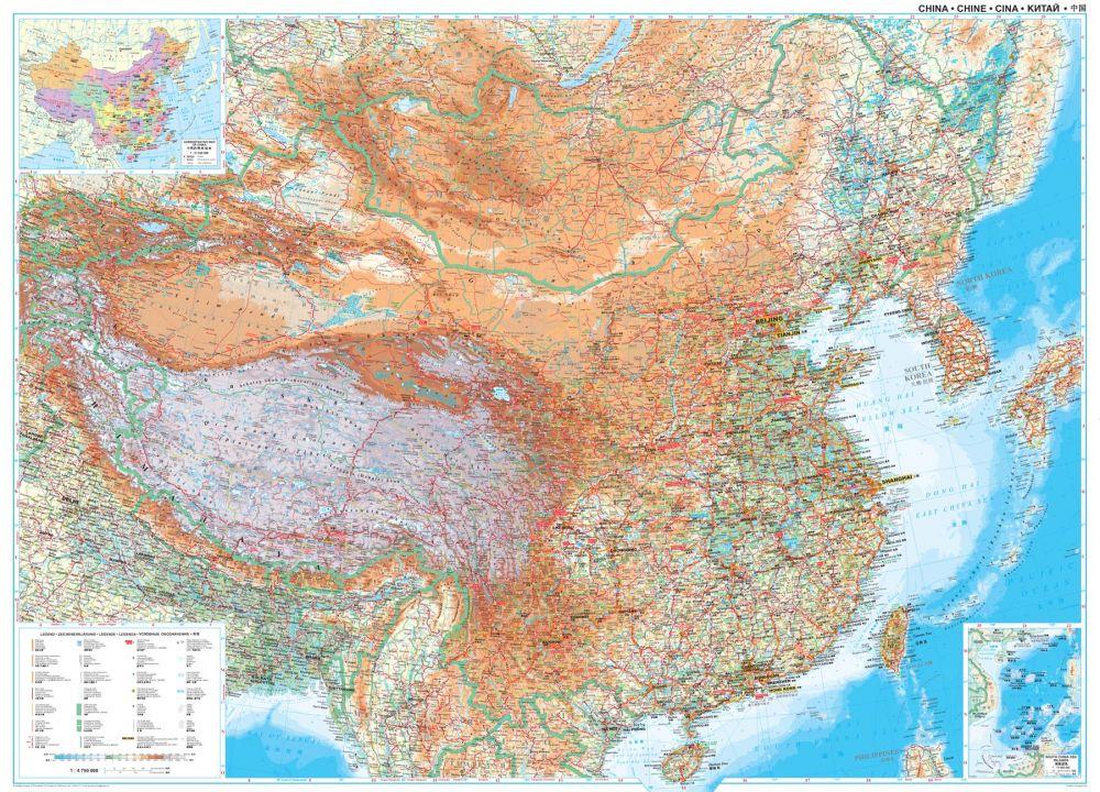 kína domborzati térkép Kína domborzata és úthálózata falitérkép 122*86 cm   íves papír  kína domborzati térkép