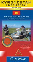 Kirgizisztán- autóstérkép domborzattal