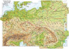 Közép-Európa domborzata falitérkép 160*120 cm - laminált,faléces