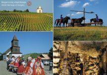 Magyarországi világörökségek tányéralátét könyöklő + hátoldalon Magyarország borászati térképe
