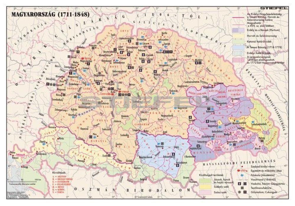 1848 magyarország térkép Magyarország 1711 1848 között 140*100 cm   laminált, faléces   A