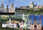 Magyarország bazilikái tányéralátét könyöklő + hátoldalon Balaton térkép