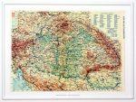 Magyarország 1914 domború térkép kicsi, keretezett