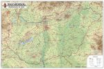 Magyarország domborzata és vizei falitérkép 125*90 cm - térképtűvel szúrható, keretezett