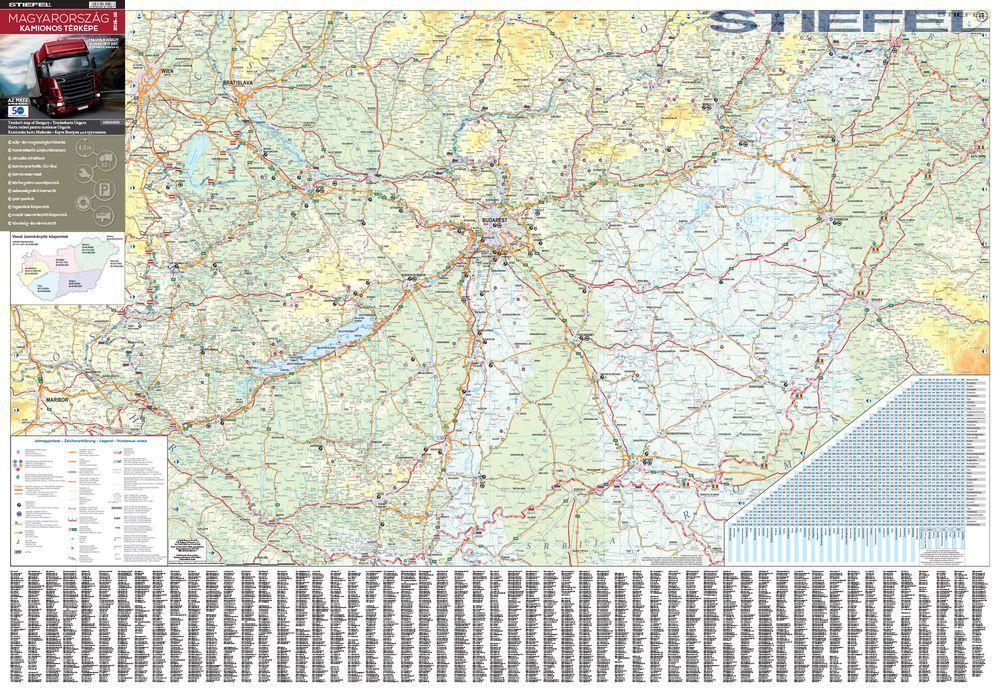 kamionos térkép magyarország Magyarország kamionos térképe 100*70 cm   fóliás, fémléces   A  kamionos térkép magyarország
