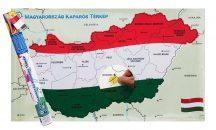 Magyarország kaparós térkép - térképtűvel szúrható, keretezett