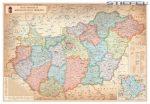 Magyarország közigazgatása járáshatárokkal antik 140*100 cm falitérkép - fémléces