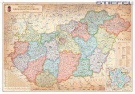 Magyarország közigazgatása járáshatárokkal antik 140*100 cm falitérkép - mágnessel jelölhető, keretezett