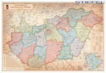 Magyarország közigazgatása járáshatárokkal antik 100*70 cm falitérkép - mágnessel jelölhető, keretezett