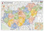 Magyarország közigazgatása járásszínezéssel 100*70 cm falitérkép - mágnessel jelölhető, keretezett