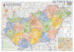Magyarország közigazgatása járásszínezéssel 100*70 cm falitérkép - térképtűvel szútható, keretezett