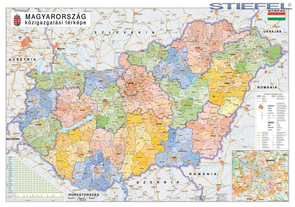 magyarország fali térkép Magyarország közigazgatása járásszínezéssel 100*70 cm falitérkép  magyarország fali térkép