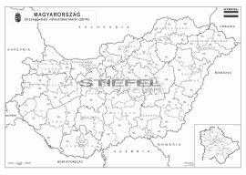 Magyarország országgyűlési választókerületei munkatérkép 2014 - tűzdelhető keretezett