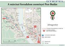 A márciusi forradalom eseményei Pest-Budán. 100*70 cm - laminált, faléces