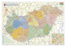 Magyarország közigazgatása járáshatárokkal 160*120 cm falitérkép - alul-felül faléces