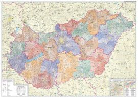 Magyarország közigazgatási falitérképe járásszínezéssel 120*86 cm - íves papír