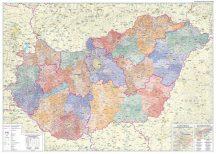 Magyarország közigazgatási falitérképe járásszínezéssel 120*86 cm - térképtűvel szúrható, keretezett