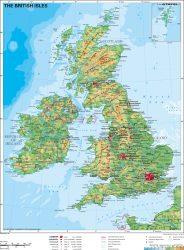 Nagy-Britannia domborzata -120 * 160 cm - laminált,faléces