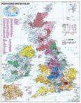 Nagy-Britannia irányítószámos falitérképe 100*140 cm - lécezett