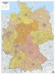 Németország irányítószámos falitérképe 95*127 cm - laminált