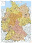 Németország irányítószámos falitérképe 95*127 cm - íves papír