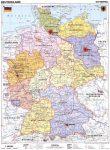 Németország, politikai + vaktérkép DUO (német) -115*160 cm-laminált,faléces
