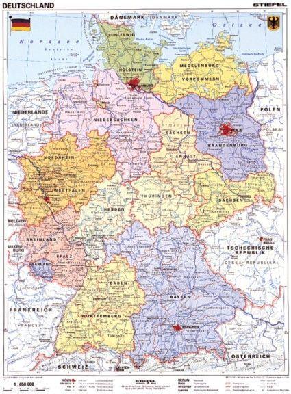 német térkép Németország, politikai + vaktérkép DUO (német)  115*160 cm  német térkép