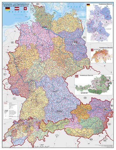 németország ausztria térkép Németország Ausztria Svájc irányítószámos falitérképe 97*122 cm  németország ausztria térkép