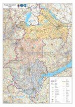 Nyugat-Dunántúli régió falitérkép 70*100 cm - mágneses keretezett
