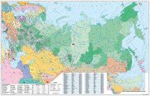 Oroszország és Kelet-Európa irányítószámos falitérképe 140*100 cm - lécezett