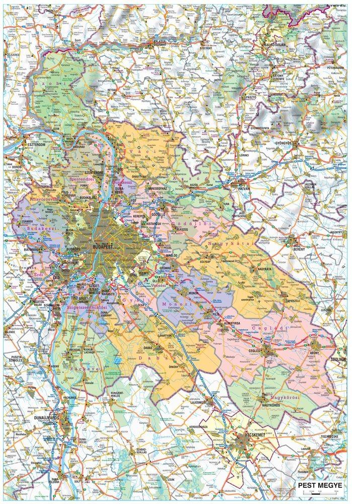 pest megye térkép Pest megye falitérkép 70*100 cm   fémléces   A Lurdy Ház  pest megye térkép