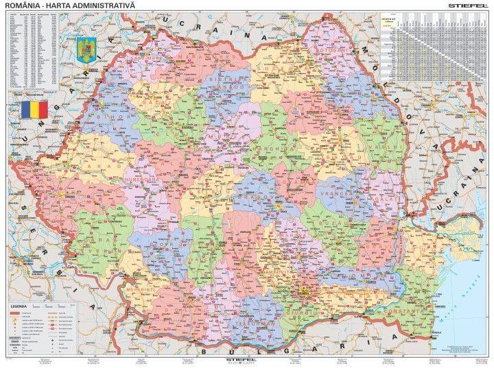 románia térkép Románia politikai (román) falitérkép 100*70 cm   tűzhető  románia térkép